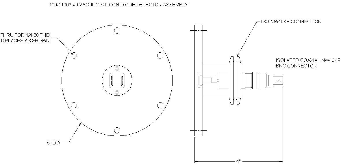 McPherson vacuum Silicon diode detector assembly, Outline Drawing