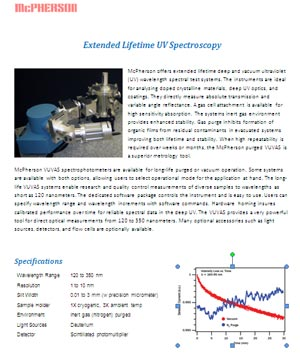 Technical Data sheet describing vacuum ultraviolet monochromator